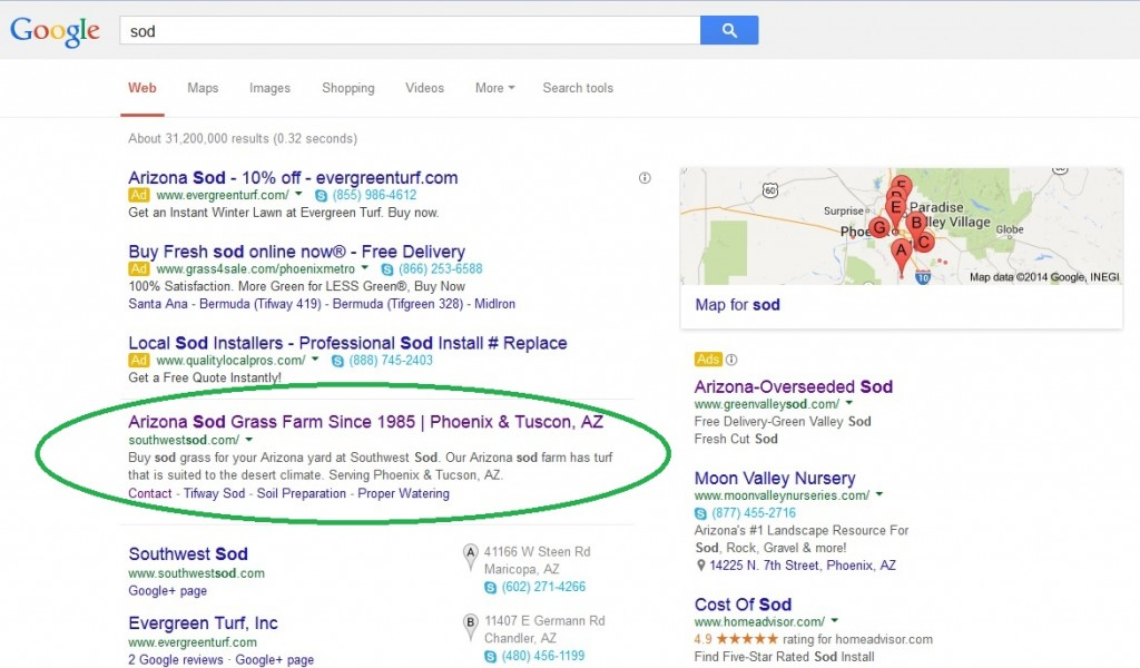 client in first position on google